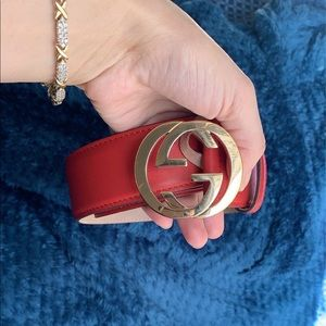 Authentic Red leather Gucci Belt.